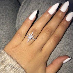 NEW 925 STERLING SILVER DIAMOND SHOOTING STAR RING